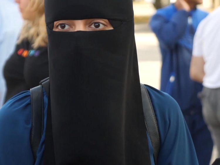 Burka ban protester Sabina