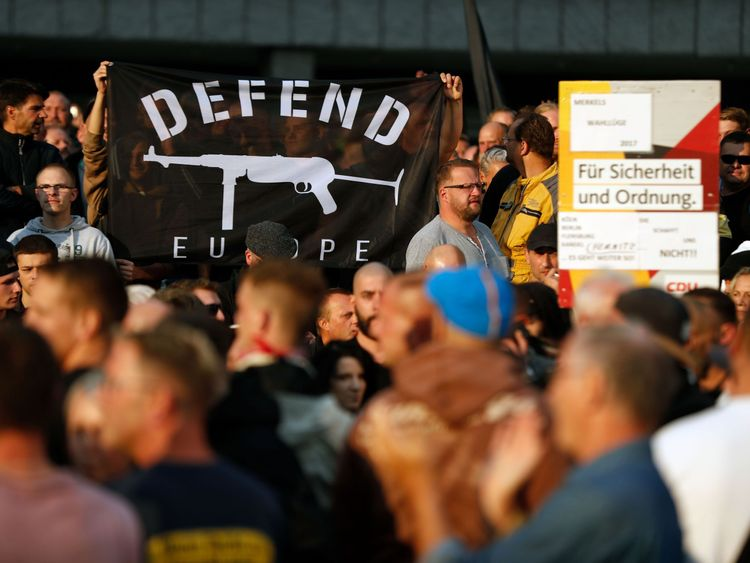 People demonstrate on August 27, 2018 in Chemnitz, eastern Germany, following the death of a 35-year-old German national who died in hospital after a 'dispute between several people of different nationalities', according to the police.
