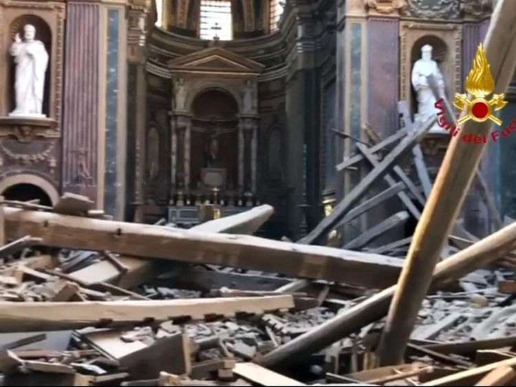 Image result for picture of st giuseppe roof collapse