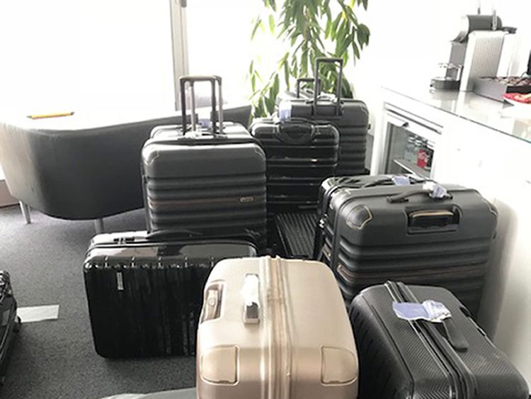 The suitcases found to be containing packs of cocaine