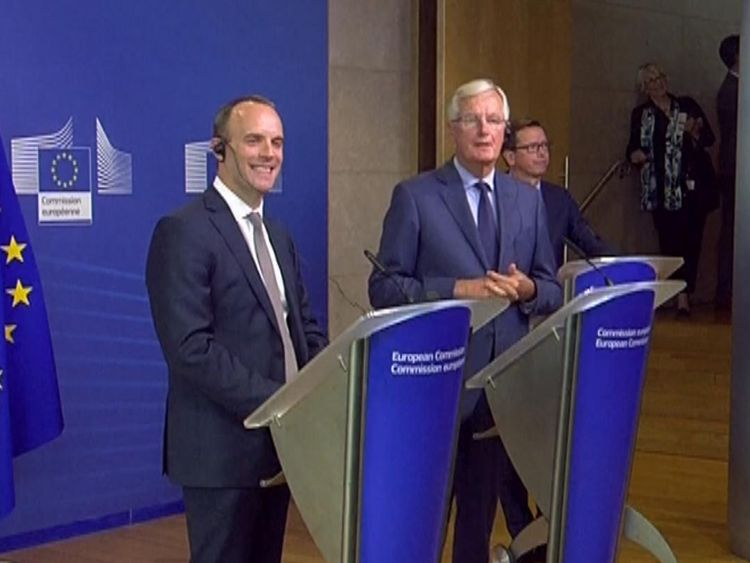 Dominic Raab and Michel Barnier host joint news conference on progress of Brexit talks