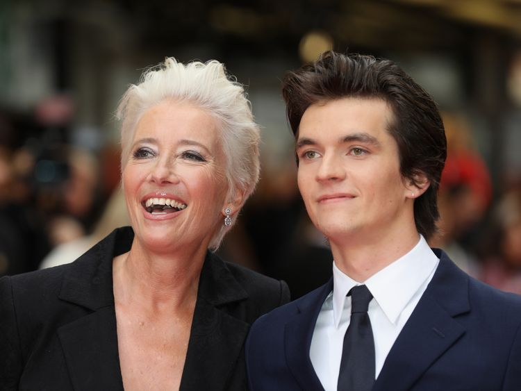 Emma Thompson and Fionn Whitehead at the movie's premiere in London