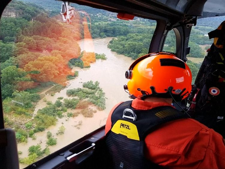 Helicopters help evacuate 1,600 campers after flooding in southern France
