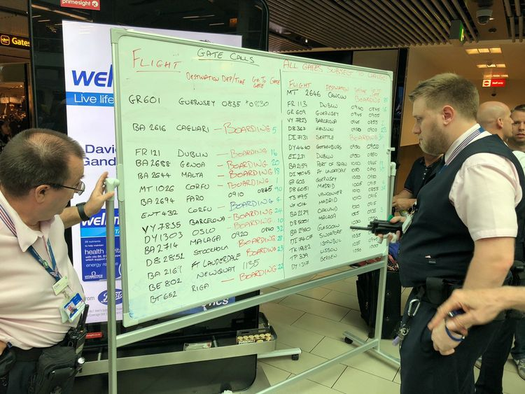 Staf have been using marker pens to update passengers. Credit: Edmund von der Burg