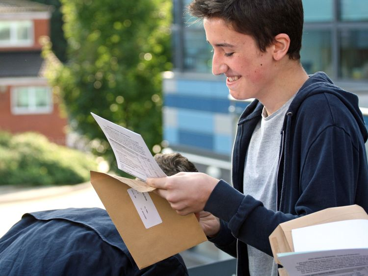 George Wicks collects his GCSE results at St Mary Redcliffe Temple School