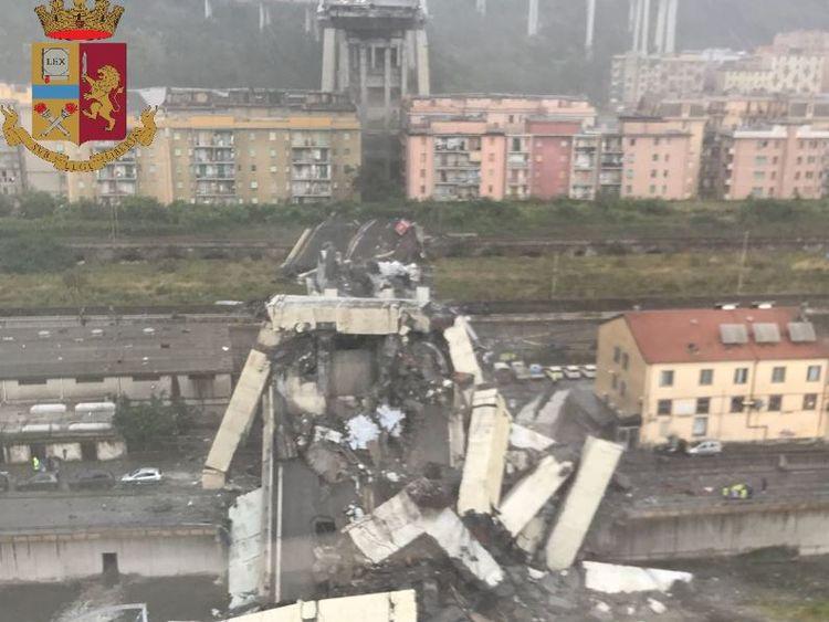 The bridge collapsed into an industrial area of the city. Pic: Polizia di Stato