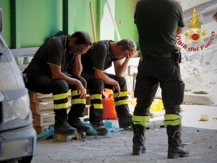 Firefighters have been searching through tons of concrete. Pic: Twitter/Vigili del Fuoco