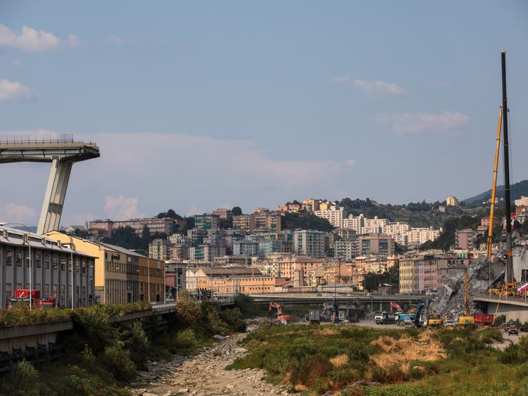 GENOA, ITALY - AUGUST 19: A stretch of the Morandi Bridge stands days after a section of it collapsed on August 19, 2018 in Genoa, Italy. 43 people were killed after a large section of the Morandi highway bridge collapsed on August 14, 2018. Thousands attended a state funeral for 19 victims of the disaster yesterday while some families boycotted the event, blaming the government for failing to ensure that the bridge was safe. (Photo by Jack Taylor/Getty Images)