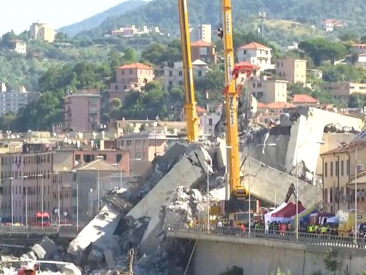 Rescue and recovery continues in Genoa a day after a section of the Morandi bridge collapsed