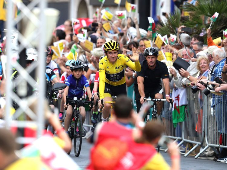 Geraint Thomas during the homecoming event in Cardiff. PRESS ASSOCIATION Photo. Picture date: Thursday August 9, 2018. See PA story CYCLING Thomas. Photo credit should read: Aaron Chown/PA Wire