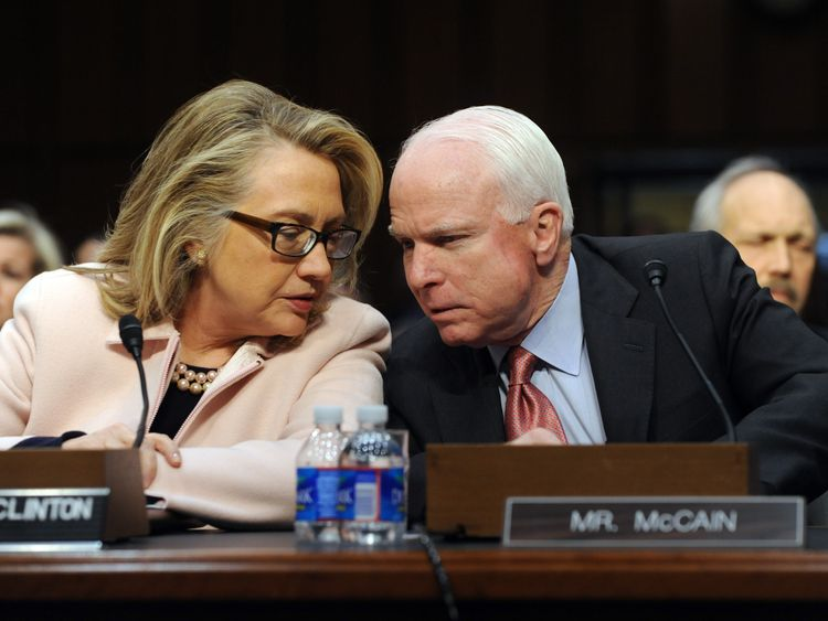 The Clintons called Mr McCain a 'skilled, tough politician'