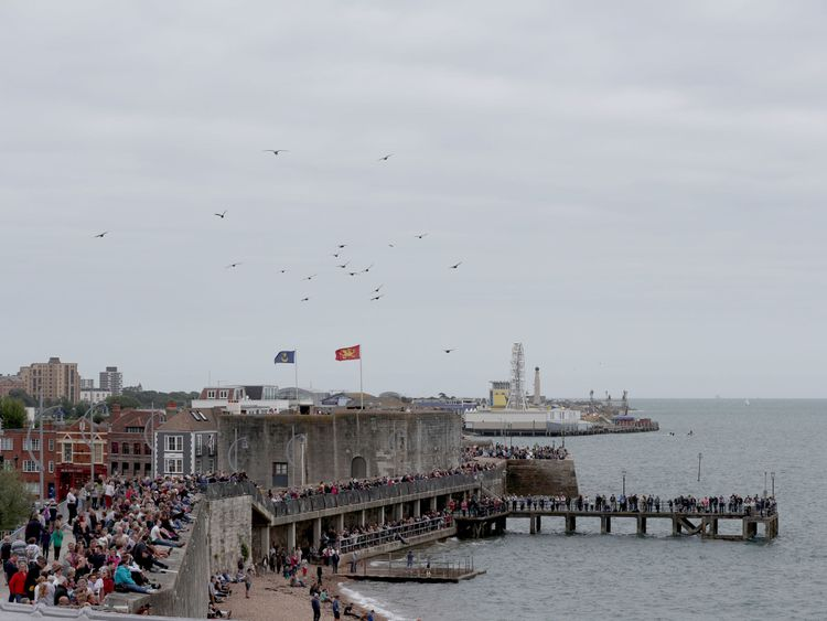 Crowds gathered in Portsmouth to watch as HMS Elizabeth set off