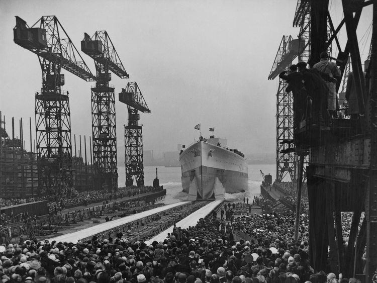 The Royal Navy King George V-class battleship HMS Prince of Wales shortly after being launched down the slipway at the Cammell Laird shipyard in Birkenhead, Merseyside on 3 May 1939