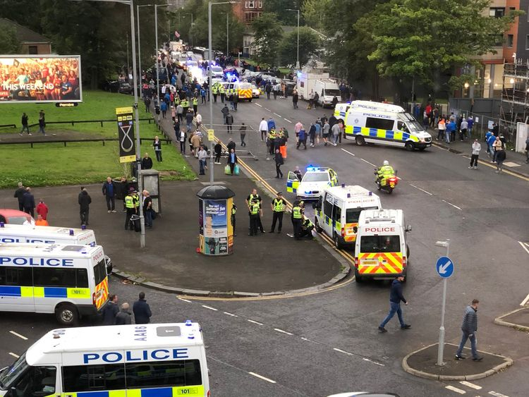 Emergency services have been called to deal with violence outside the Ibrox Stadium. Pic Andi Denny