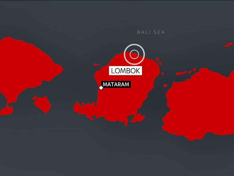 The quake struck off the coast of the island of Lombok