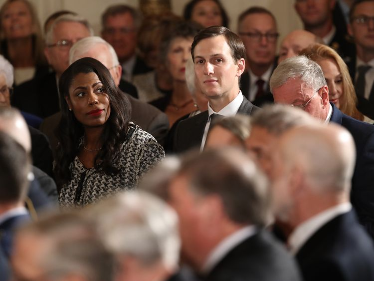 Jared Kushner (R) and Omarosa Manigault Newman attend a ceremony awarding a Medal of Honor