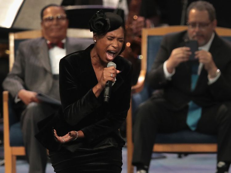 Jennifer Hudson performs at the funeral