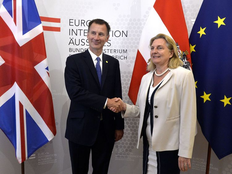 Jeremy Hunt and Austria's Foreign Minister Karin Kneissl