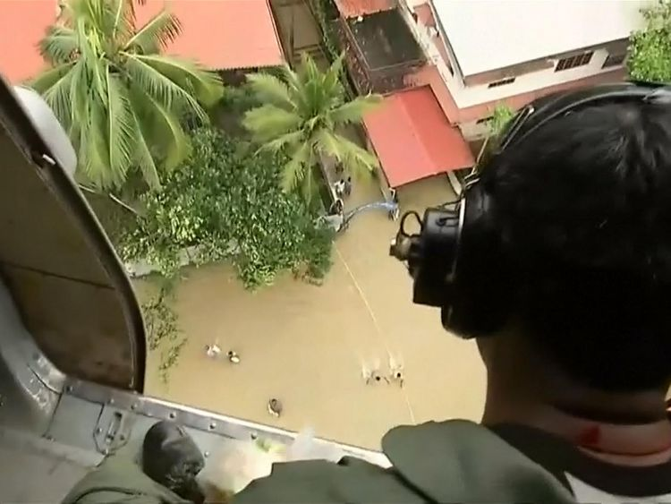 Helicopters are being used to drop food, clothing and medicines