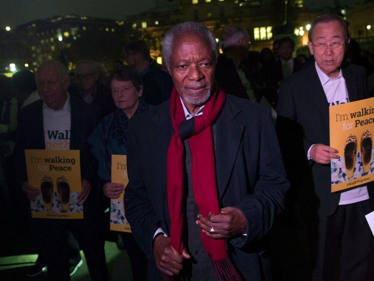 Kofi Annan in London in 2017 taking part in a walking event in memory of Nelson Mandela