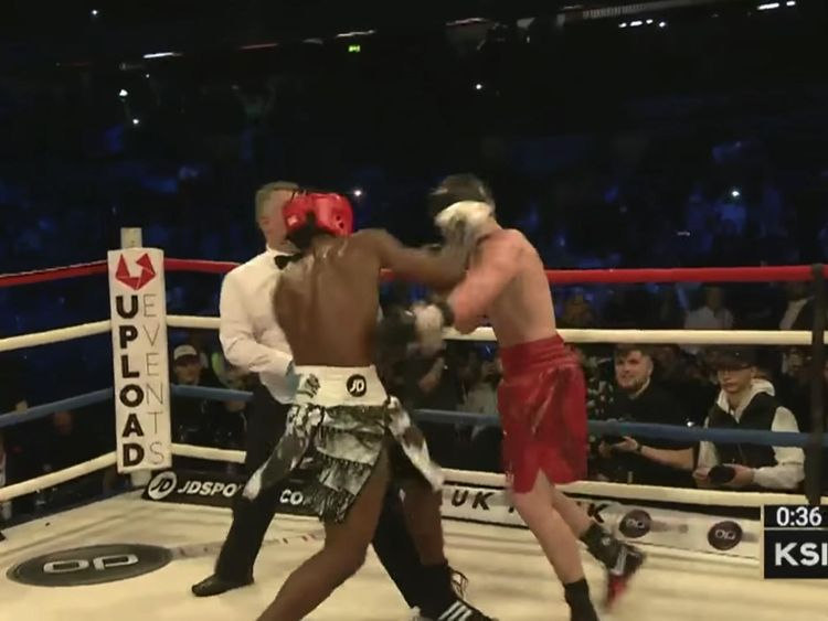 KSI during his win against another YouTuber, Joe Weller