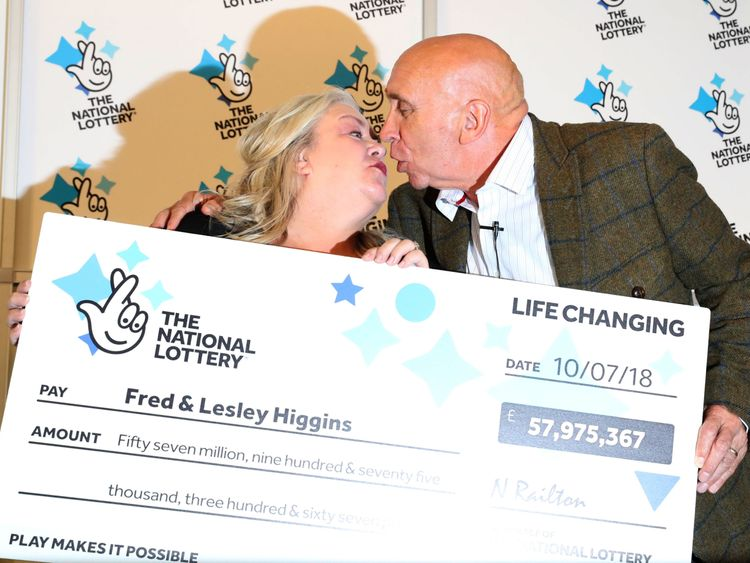 Fred, 67, and Lesley Higgins, 57, from Laurencekirk won the EuroMillions jackpot