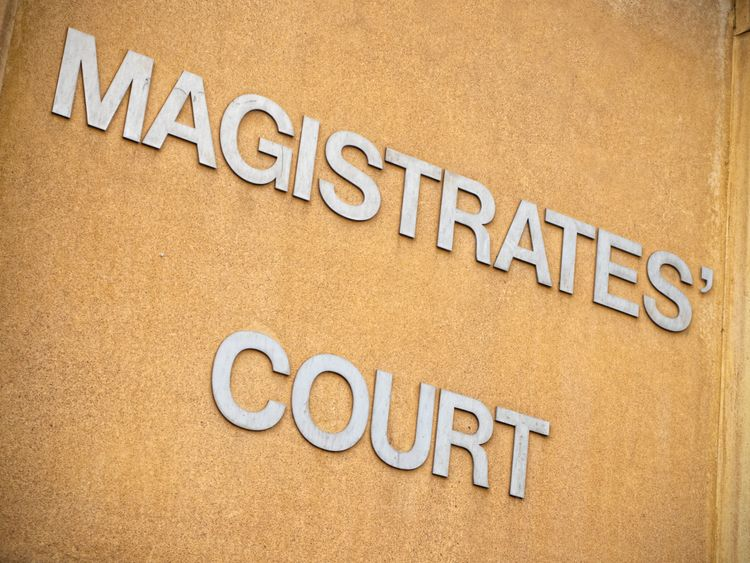 Magistrates court sign - stock image