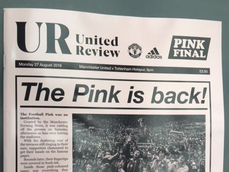 United's match day programme paid tribute to the The Football Pink on Monday