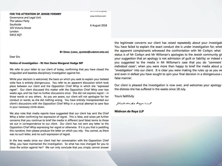 The full letter from Margaret Hodge's lawyer after the investigation was dropped