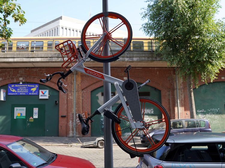 It's not just Manchester that has the problem... this bike was seen hanging form a post in Berlin