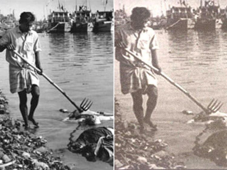 (L) Bodies of Bengalis being retrieved following their massacre in Dhaka in 1971 and (R) Myanmar army's doctored image