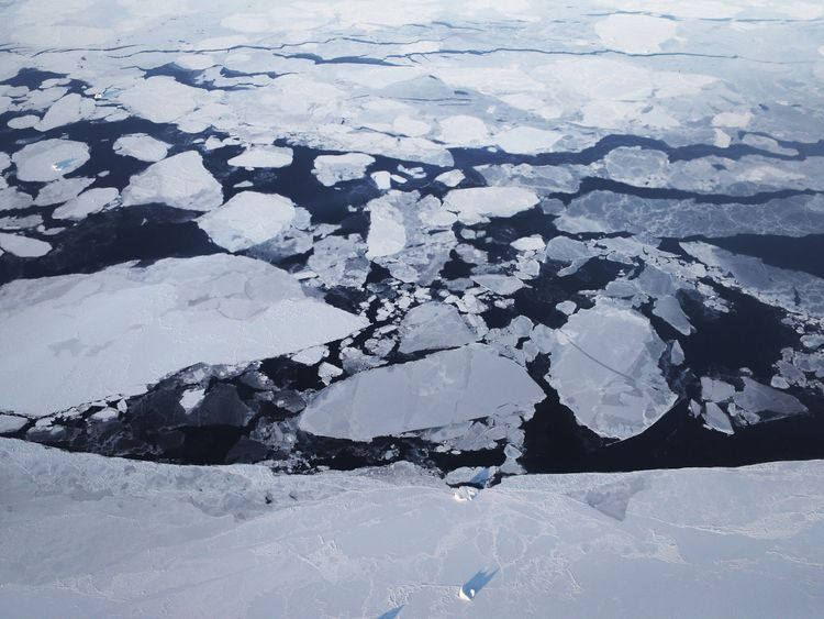 Sea ice spotted from NASA's Operation IceBridge research aircraft off Greenland
