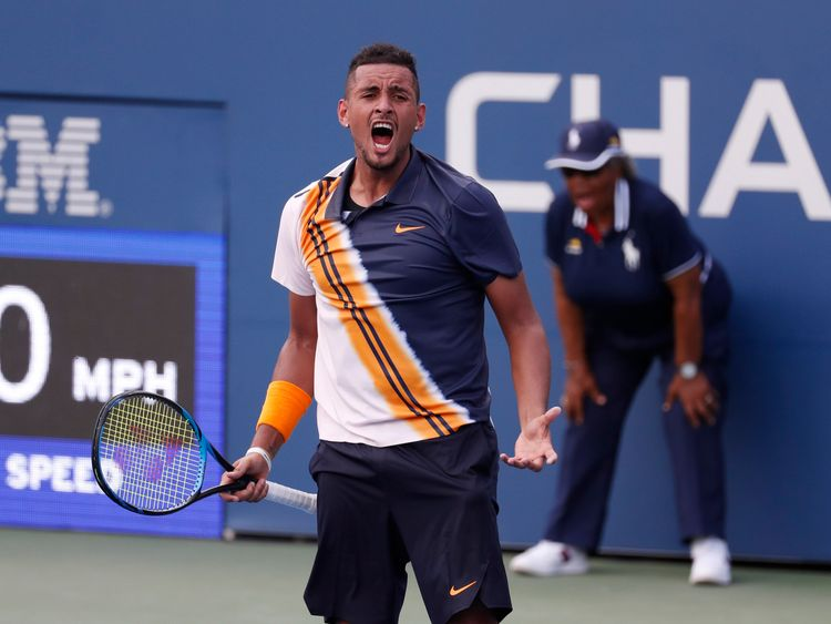 Aug 30, 2018; New York, NY, USA; Nick Kyrgios of Austria celebrates match point against Pierre-Hugues Herbert of France in a second round match on day four of the 2018 U.S. Open tennis tournament at USTA Billie Jean King National Tennis Center. Mandatory Credit: Jerry Lai-USA TODAY Sports
