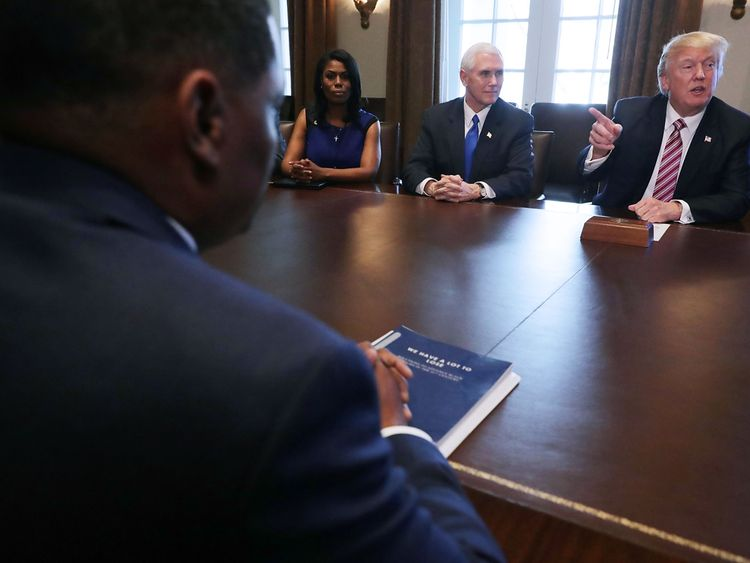 Omarosa Manigault Newman with Donald Trump and Mike Pence