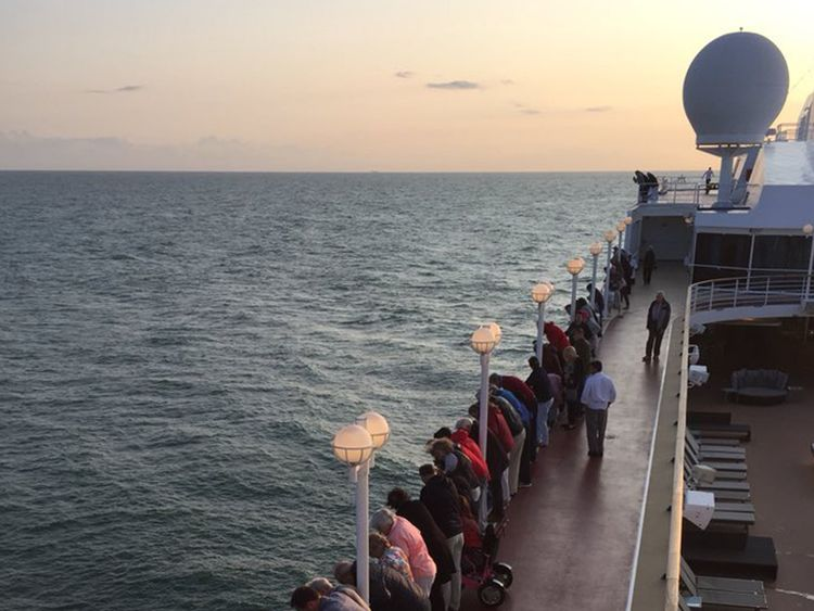 Passengers on the Pacific Princess watch a rescue. Pic: Alexandra Rosen