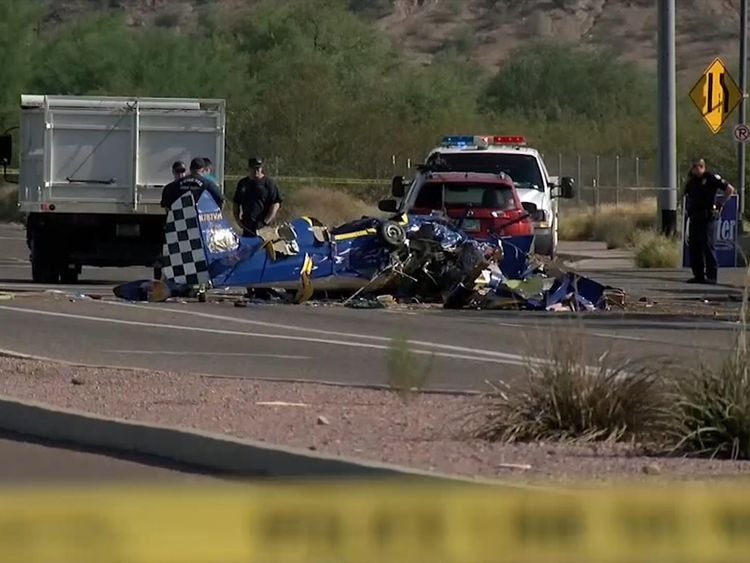 The aircraft collided with a car at an intersection. Pic: ABC15.com