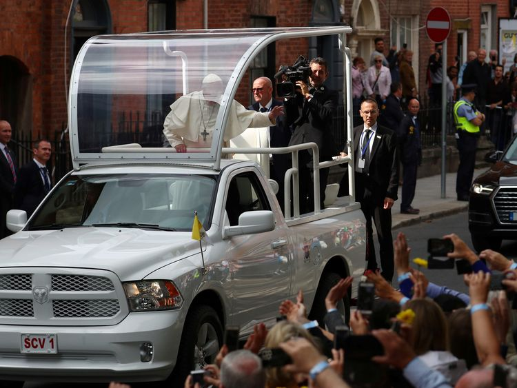 The Pope travelled through Dublin in the Popemobile
