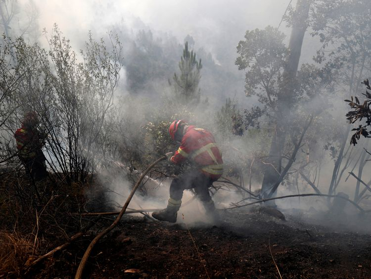 Portugal wildfire spreads towards tourist spots
