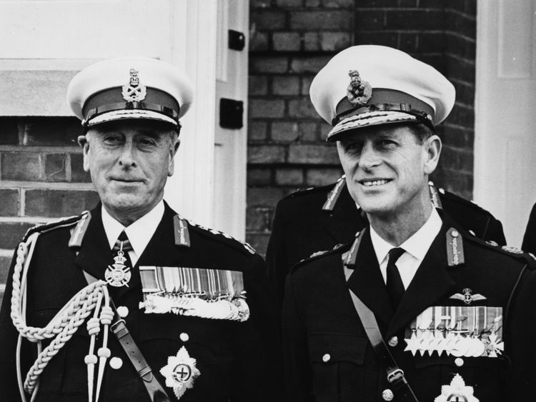 Prince Philip, with the Earl Mountbatten, in 1965