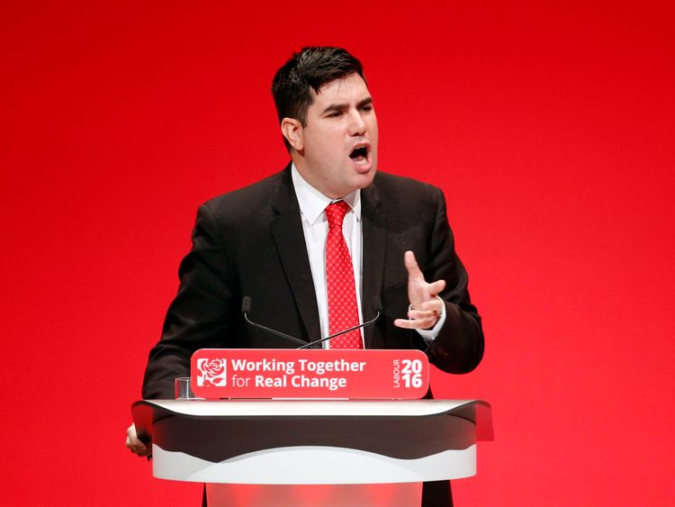 Shadow Secretary of State for Justice Richard Burgon delivers his speech on the final day of the Labour Party conference in Liverpool.