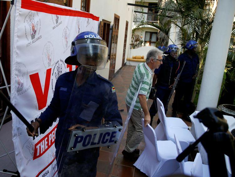 Riot police in Harare