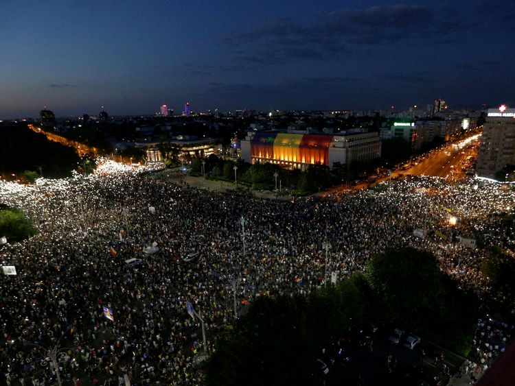 Thousands of Romanians joined an anti-government rally in the capital Bucharest