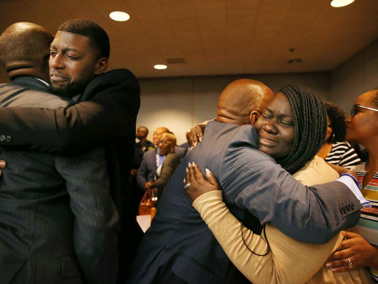 Odell Edwards and Charmaine Edwards, parents of Jordan Edwards, react to a guilty of murder verdict during the ninth day of the trial of fired Balch Springs police officer Roy Oliver, who was charged with the murder of 15-year-old Jordan Edwards, at the Frank Crowley Courts Building in Dallas on Tuesday, Aug. 28, 2018. (Rose Baca - Pool/The Dallas Morning News)