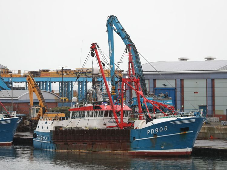 The Honeybourne 3 (right), a Scottish scallop dredger, in dock at Shoreham, West Sussex, following clashes with French fishermen