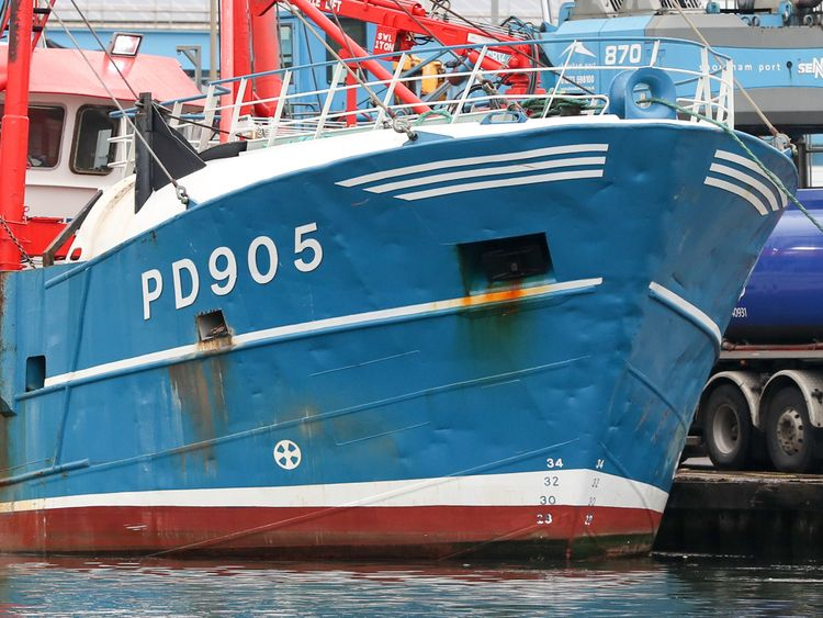 A view of the bow of Honeybourne 3, a Scottish scallop dredger, in dock at Shoreham, West Sussex, following clashes with French fishermen