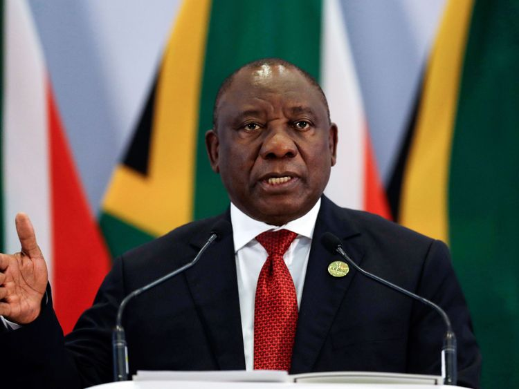 South African President Cyril Ramaphosa addresses a media conference at the end of the BRICS Summit in Johannesburg on July 27, 2018, as the heads of the BRICS group -- Brazil, Russia, India, China and South Africa -- met in Johannesburg for an annual summit dominated by the risk of a US-led trade war. - Five of the biggest emerging economies on July 26, stood by the multilateral system and vowed to strengthen economic cooperation in the face of US tariff threats and unilateralism. (Photo by The