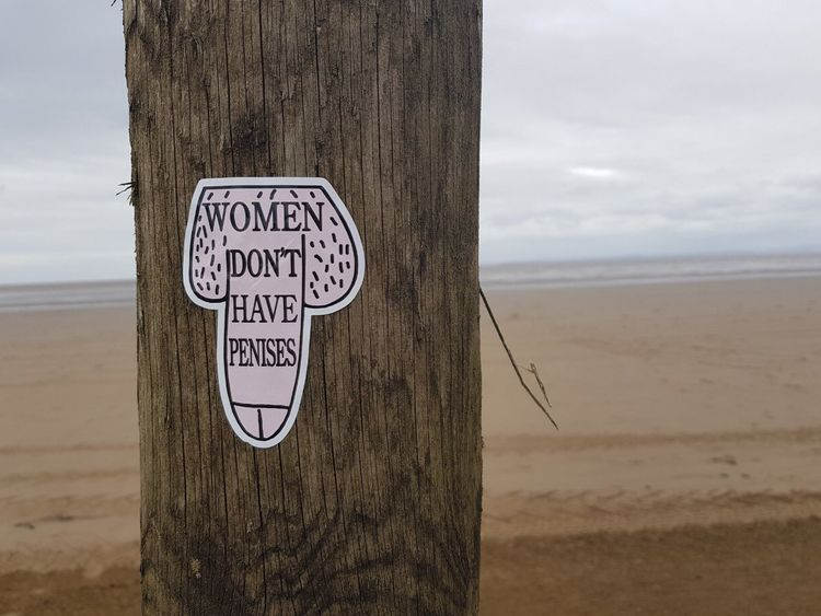 The stickers have been plastered over the statues along Crosby Beach. Pic: @LiverpoolReSis1