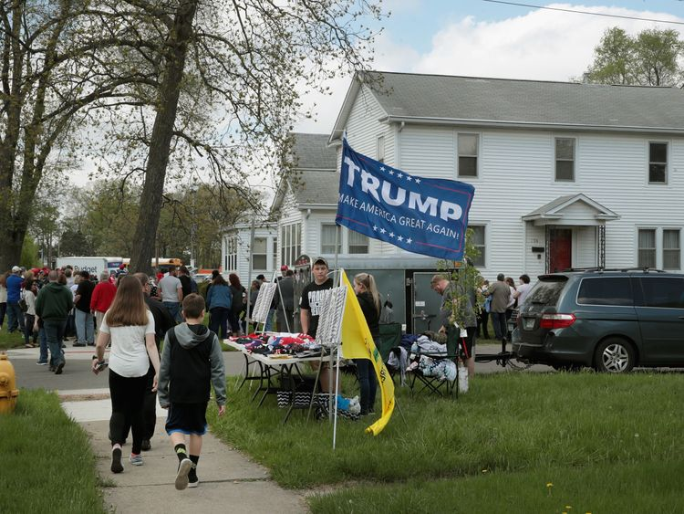 Supporters of Donald Trump in the Mid West town of Elkhart, Indiana