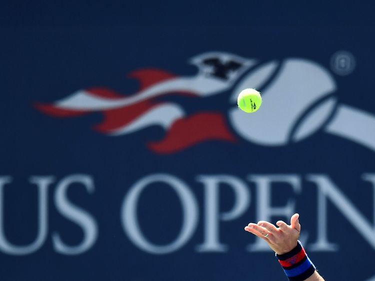 Czech Republic's Tomas Berdych serves the ball to Ryan Harrison of the US during their 2017 US Open Men's Singles match at the USTA Billie Jean King National Tennis Center in New York on August 30, 2017. / AFP PHOTO / Jewel SAMAD (Photo credit should read JEWEL SAMAD/AFP/Getty Images)