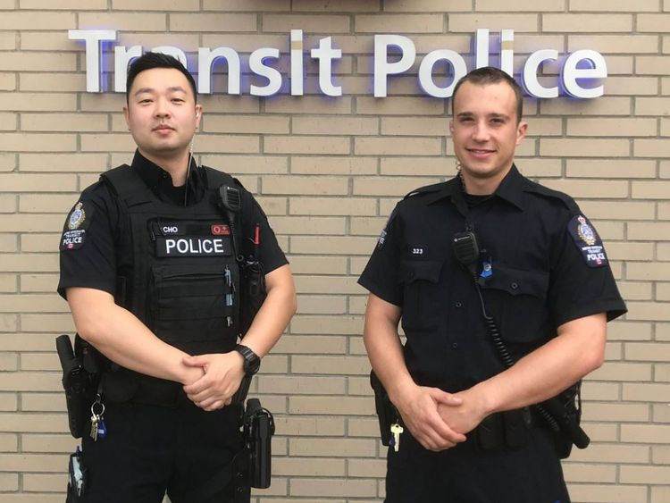 Constable Cho and Constable Cantera came out to meet the girls. Pic: Metro Vancouver Transit Police